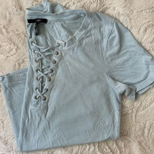 Burn out lace up tee